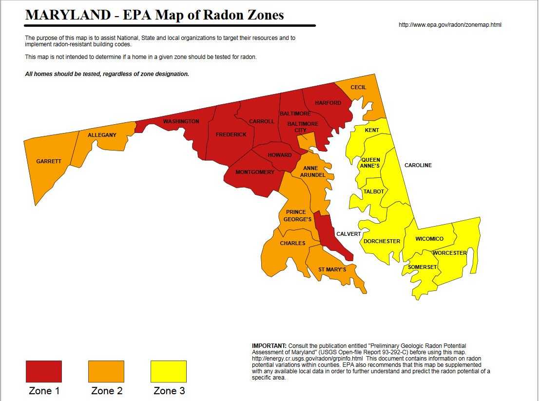 Professional Home Inspections Serving Central Maryland Home - Is a radon map us